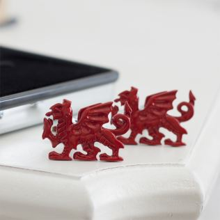 Red Welsh Dragon Cufflinks in Personalised Box Product Image