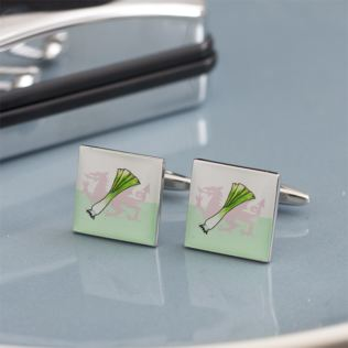 Welsh Leek and Dragon Cufflinks in Personalised Box Product Image