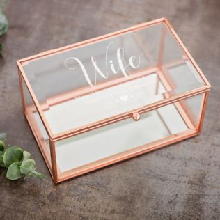 Personalised Wife Rose Gold Glass Jewellery Box Product Image