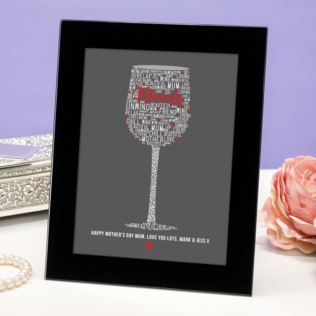Personalised Mum Wine Glass Of Words Framed Print Product Image