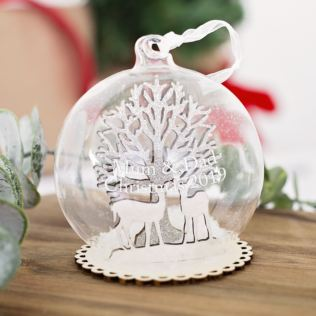 Personalised Winter Forest Scene Christmas Bauble Product Image