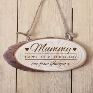 Personalised 1st Mother's Day Wooden Hanging Plaque Product Image