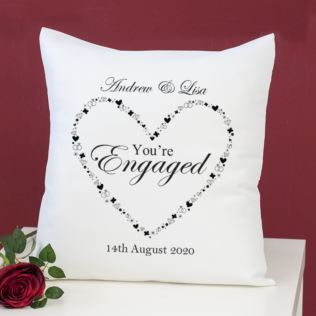 Personalised You're Engaged Heart Design Cushion Product Image