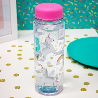 Rainbow Unicorn Clear Water Bottle Product Image