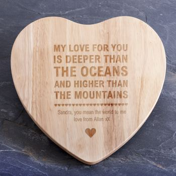 Personalised Oceans And Mountains Heart Shaped Chopping Board