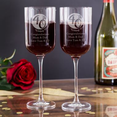 Personalised 40th Anniversary Fusion Wine Glasses