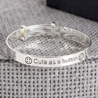Cute As A Button Expandable Baby Bangle In Personalised Box