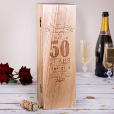 Personalised 50th Wedding Anniversary Luxury Wooden Wine Box