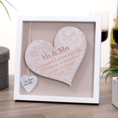 Mr & Mrs Sentiment Heart Art Frame