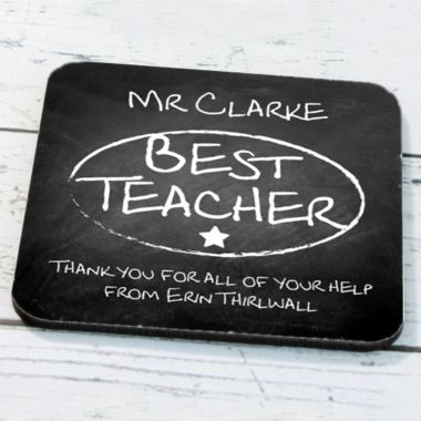 Personalised Best Teacher Chalk Board Coaster