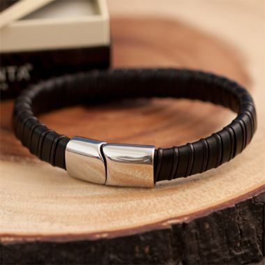 Brown Leather Mens Bracelet in Personalised Gift Box