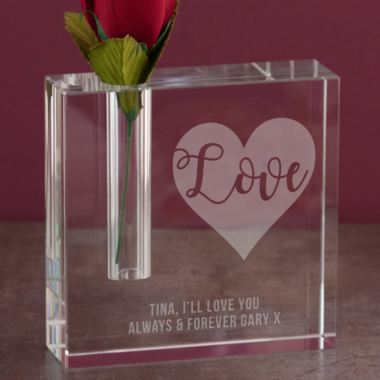 Personalised Love Heart Square Bud Vase