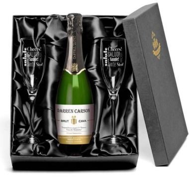 Personalised Cava and Glasses Gift Set