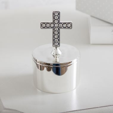 Personalised Silver Plated Trinket Box With Cross