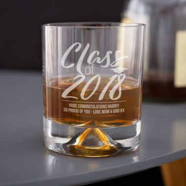 Personalised Glass Of Graduation Whisky Tumbler