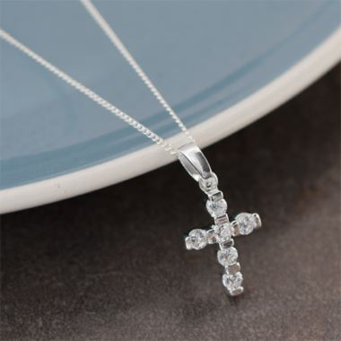 Cubic Zirconia Cross with Personalised Box