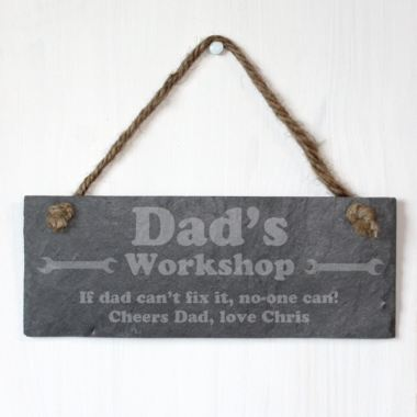 Dad's Workshop Personalised Slate Plaque