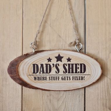 Personalised Dads Shed Wooden Hanging Plaque
