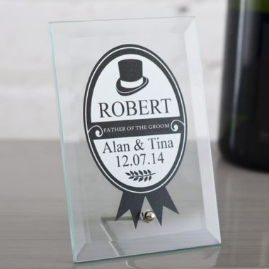 Personalised Father Of The Groom Glass Plaque