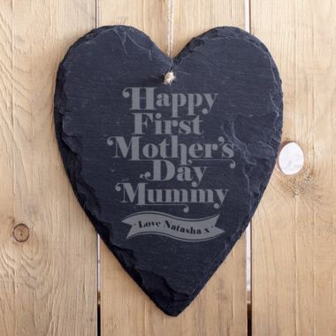 Personalised 1st Mother's Day Hanging Slate Heart