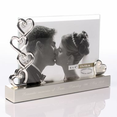 Engraved Five Hearts Photo Frame