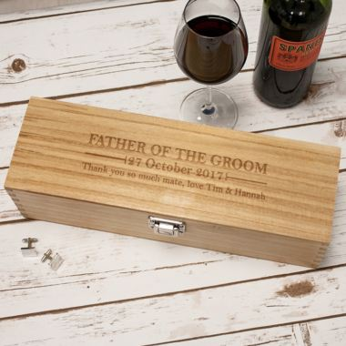 Personalised Father Of The Groom Luxury Wooden Wine Box