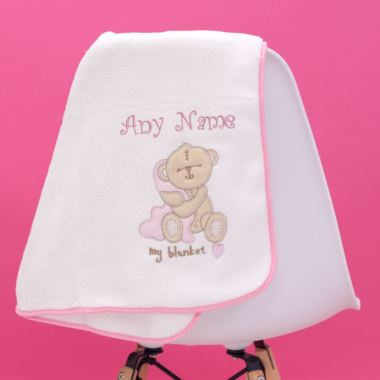Baby Girl Personalised Embroidered Blanket