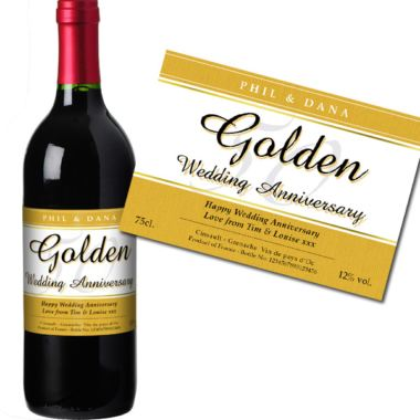 Personalised Golden Wedding Anniversary Red Wine