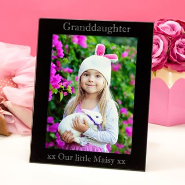 Personalised Granddaughter Black Glass Photo Frame
