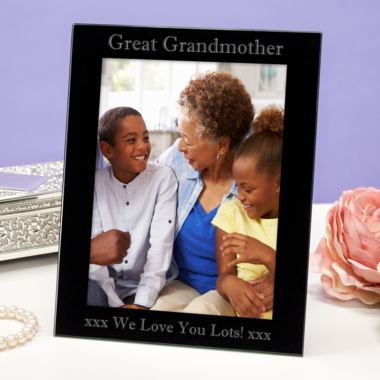 Personalised Great Grandmother Black Glass Photo Frame