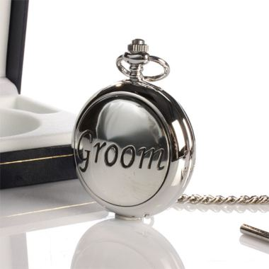 Groom Pocket Watch With Personalised Gift Box