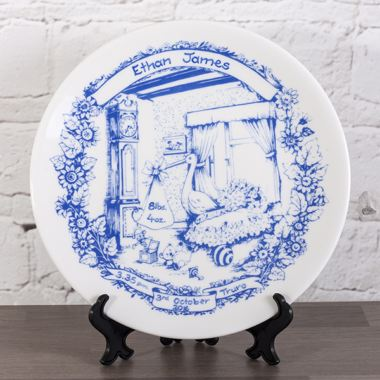 Personalised Heron China Staffordshire Blue Birth Plate