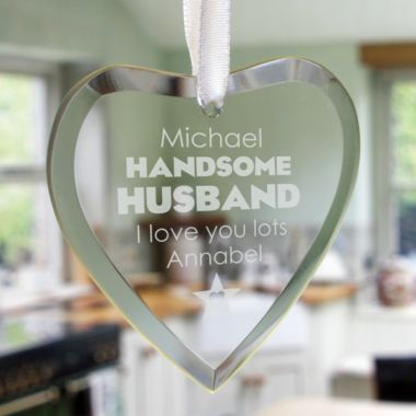 Handsome Husband Personalised Glass Hanging Ornament