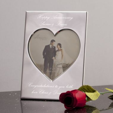 Personalised Silver Plated Heart Photo Frame