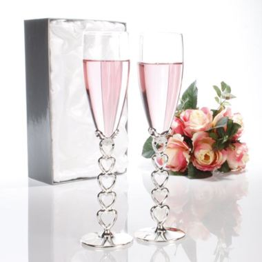 Pair of Engraved Silver Heart Stem Champagne Glasses
