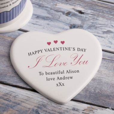 Personalised Valentines Day Heart Ceramic Coaster