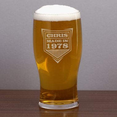 Personalised Made In Year Pint Glass