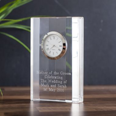 Engraved Crystal Mantel Clock