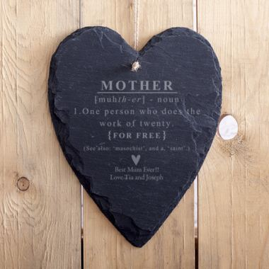Personalised Mother Noun Hanging Slate Heart