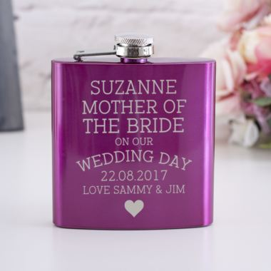 Personalised Pink Mother Of The Bride Hip Flask