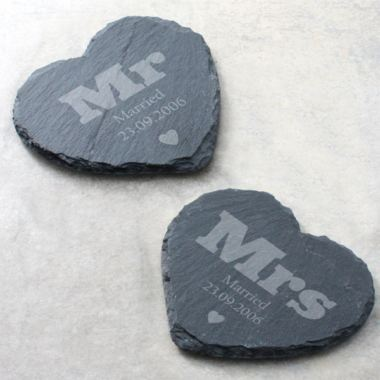 Pair of Mr & Mrs Personalised Slate Coasters