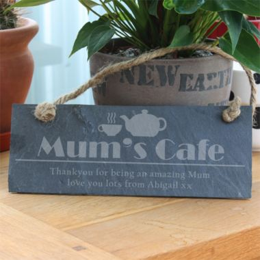 Mum's Cafe Personalised Slate Plaque