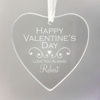 Personalised Valentine's Day Hanging Glass Heart