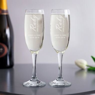 Personalised Ruby Anniversary Champagne Flutes