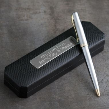 Satin Silver and Gold Finish Pen in Personalised Box
