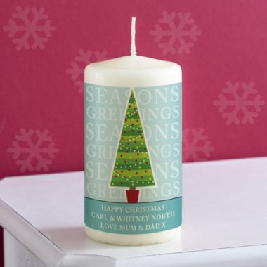 Personalised Christmas Tree Design Candle