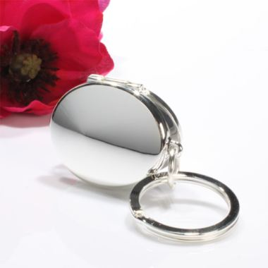 Engraved Silver Oval Photo Locket Keyring