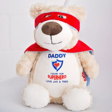Daddy Super Hero Bear - Embroidered Cubbies Soft Toy