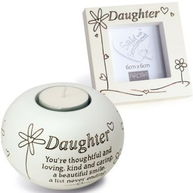 Daughter Tealight And Photo Frame Gift Set