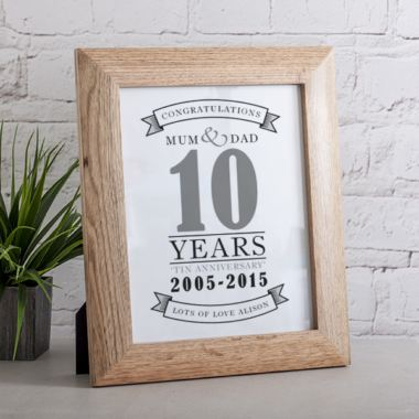 Personalised Tenth Anniversary Framed Print